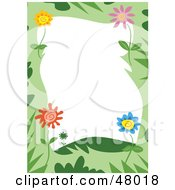 Royalty Free RF Clipart Illustration Of A Green Stationery Border Of Colorful Flowers And Grasses On White