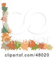 Royalty Free RF Clipart Illustration Of A Stationery Border Or Corner Of Autumn Leaves On White by Prawny