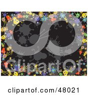 Royalty Free RF Clipart Illustration Of A Black Background Bordered With Colorful Bacteria by Prawny