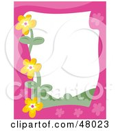 Royalty Free RF Clipart Illustration Of A Pink Stationery Border Of Orange Flowers On White