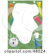 Royalty Free RF Clipart Illustration Of A Stationery Border Of A Man Golfing by Prawny