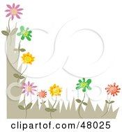 Royalty Free RF Clipart Illustration Of A Stationery Border Or Corner Of Flowers On White by Prawny