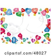 Royalty Free RF Clipart Illustration Of A Colorful Stationery Border Of Happy Hearts On White by Prawny
