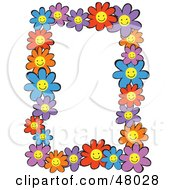 Royalty Free RF Clipart Illustration Of A Colorful Stationery Border Of Happy Daisies On White