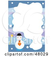 Royalty Free RF Clipart Illustration Of A Stationery Border Of Frosty The Snowman On Purple And Blue With A White Text Box by Prawny