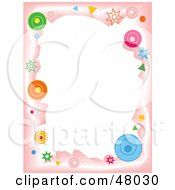 Royalty Free RF Clipart Illustration Of A Stationery Border Of Circles And Stars On Pink And White by Prawny