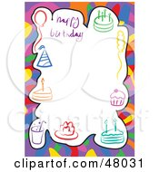 Royalty Free RF Clipart Illustration Of A Stationery Border Of Party Hats Cakes And Balloons On White by Prawny