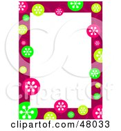 Royalty Free RF Clipart Illustration Of A Stationery Border Of Colorful Retro Snowflakes On White by Prawny