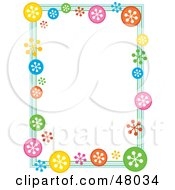 Royalty Free RF Clipart Illustration Of A Colorful Stationery Border Of Retro Snowflakes On White by Prawny