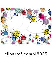 Royalty Free RF Clipart Illustration Of A Colorful Stationery Border Of Ladybugs On White by Prawny