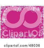 Royalty Free RF Clipart Illustration Of A Stationery Border Of White Snowflakes On Pink by Prawny