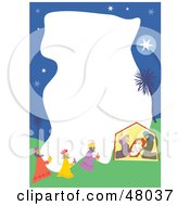 Stationery Border Of The Nativity Scene On White
