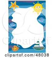 Royalty Free RF Clipart Illustration Of A Stationery Border Of Boats Fish And The Sun On White by Prawny