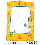 Royalty Free RF Clipart Illustration Of An Orange Stationery Border Of Birthday Kids With Balloons On White by Prawny