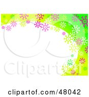 Royalty Free RF Clipart Illustration Of A Stationery Border Of Colorful Snowflakes On Green With Text Space by Prawny