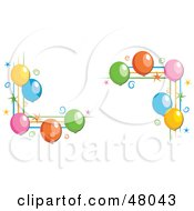 Royalty Free RF Clipart Illustration Of Party Balloon Corner Designs On A White Background by Prawny