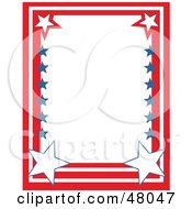 Royalty Free RF Clipart Illustration Of A Stationery Border Of Red White And Blue Stars And Stripes On White by Prawny