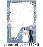 Royalty Free RF Clipart Illustration Of A Blue Stationery Border Of A Bride And Groom With Confetti On White by Prawny