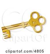 Decorative Ancient Gold Skeleton Key Clipart by djart #COLLC4805-0006