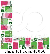 Royalty Free RF Clipart Illustration Of A Retro Stationery Border Or Corner Of Pink And Green Rectangles On White
