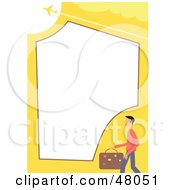 Royalty Free RF Clipart Illustration Of A Yellow Stationery Border Of A Male Traveler And An Airliner On White by Prawny