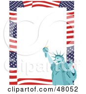 Royalty Free RF Clipart Illustration Of A Stationery Border Of American Stars And Stripes And The Statue Of Liberty