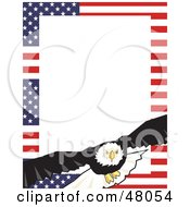 Royalty Free RF Clipart Illustration Of A Stationery Border Of American Stars And Stripes And A Bald Eagle by Prawny