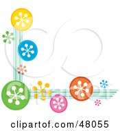 Royalty Free RF Clipart Illustration Of A Stationery Border Or Corner Of Colorful Snowflakes On White