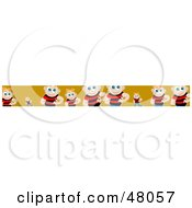 Royalty Free RF Clipart Illustration Of A Border Of Shy Boys On Orange