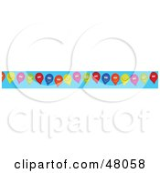 Border Of Happy Balloons On Blue