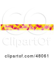 Royalty Free RF Clipart Illustration Of A Border Of Pink Hands On Yellow