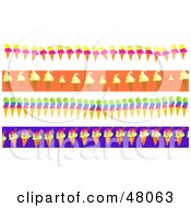 Royalty Free RF Clipart Illustration Of A Digital Collage Of Ice Cream Cone Borders by Prawny