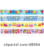 Royalty Free RF Clipart Illustration Of A Digital Collage Of Party Balloon Wine Birthday Cake And Present Borders