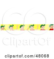 Royalty Free RF Clipart Illustration Of A Border Of Boys Waving