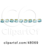 Border Of Coffee Cups On White