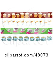 Royalty Free RF Clipart Illustration Of A Digital Collage Of Beer Cocktail Soda And Coffee Borders