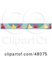 Border Of Colorful Rubber Duckies On Blue