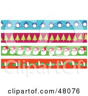 Digital Collage Of Penguin Christmas Tree Santa And Candle Borders