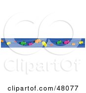 Royalty Free RF Clipart Illustration Of A Border Of Colorful Fish In Blue Water