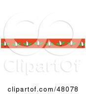 Border Of Christmas Candles On Orange