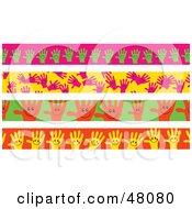 Digital Collage Of Happy Hand Borders