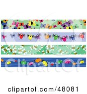 Royalty Free RF Clipart Illustration Of A Digital Collage Of Butterfly Bird Bee And Fish Borders by Prawny