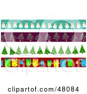 Digital Collage Of Snowman Christmas Tree And Tag Borders