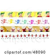 Digital Collage Of Friendly Children Borders
