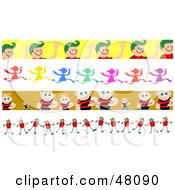 Royalty Free RF Clipart Illustration Of A Digital Collage Of Friendly Children Borders by Prawny
