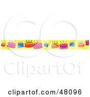 Border Of Birthday Cakes On Yellow