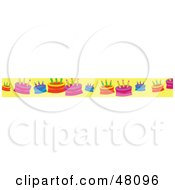 Royalty Free RF Clipart Illustration Of A Border Of Birthday Cakes On Yellow by Prawny