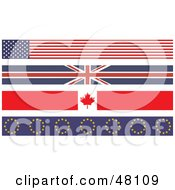 Royalty Free RF Clipart Illustration Of A Digital Collage Of American Union Jack Maple Leaf And Europe Flags
