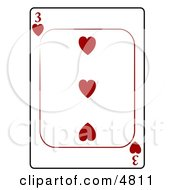 Three3 Of Hearts Playing Card Clipart
