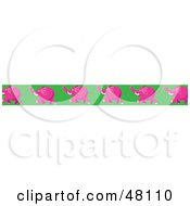Royalty Free RF Clipart Illustration Of A Border Of Running Pink Elephants On Green by Prawny